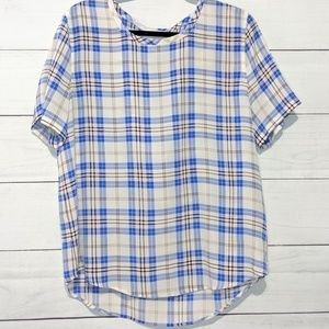 Equipment Riley Plaid Silk Tee L O17